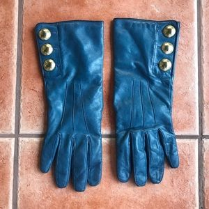 Coach Teal Leather and Cashmere Gloves